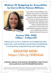 Webinar event flyer for the disability task force